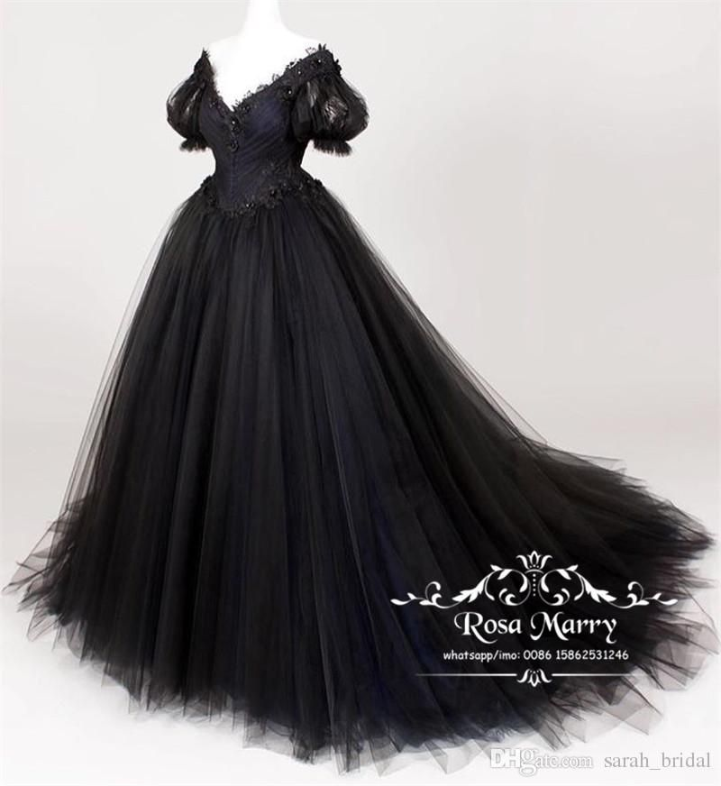 Gothic Black Plus Size Wedding Dresses 2019 A Line Short Sleeves