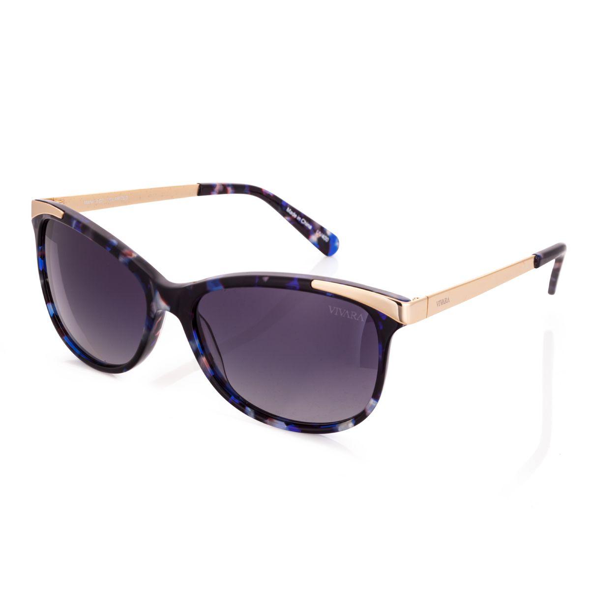 Óculos de Sol Gatinho Feminino Acetato Azul e Dourado   óculos ... 121eb8b76a