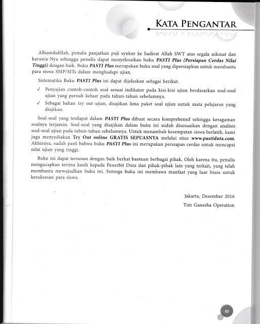 Fikri Farikhin Contoh Kata Pengantar Buku Un Smp Mts Ganesha Oper