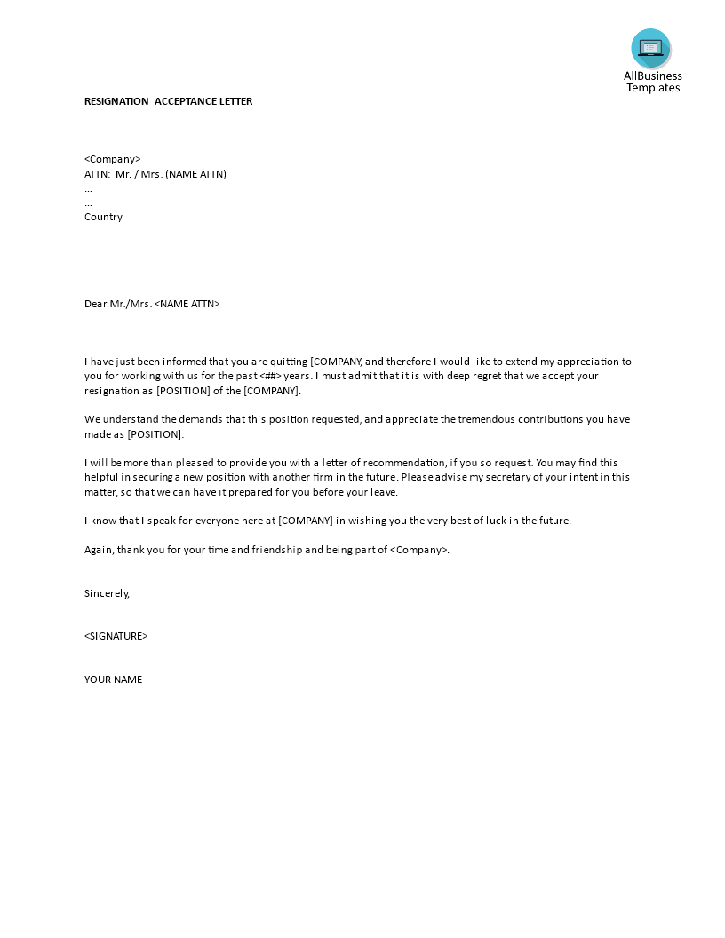 Resignation Acceptance Letter Template  Do You Need To