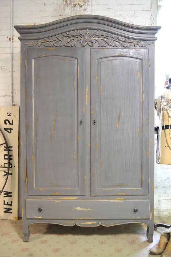 French Armoire Painted Cottage Chic Shabby French Romantic Armoire/ Wardrobe