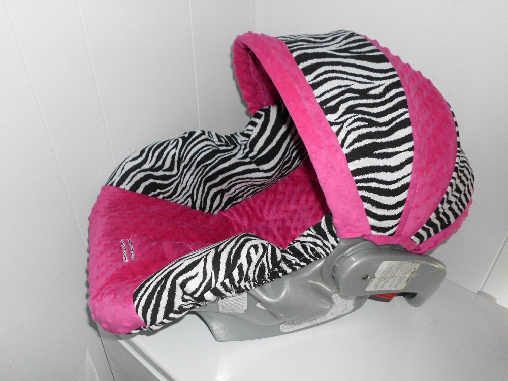 ZEBRA HOT PINK Replacement Graco Infant Car Seat Cover And Canopy