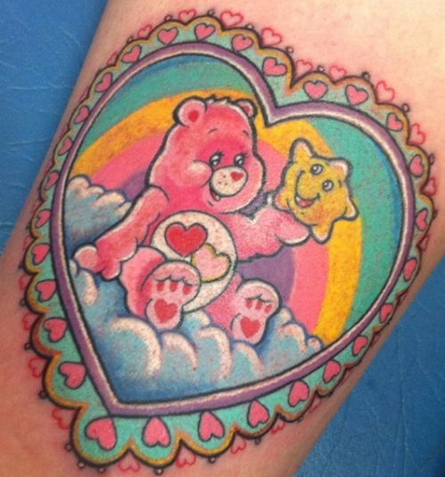 care bears tattoo, cute tattoo, heart