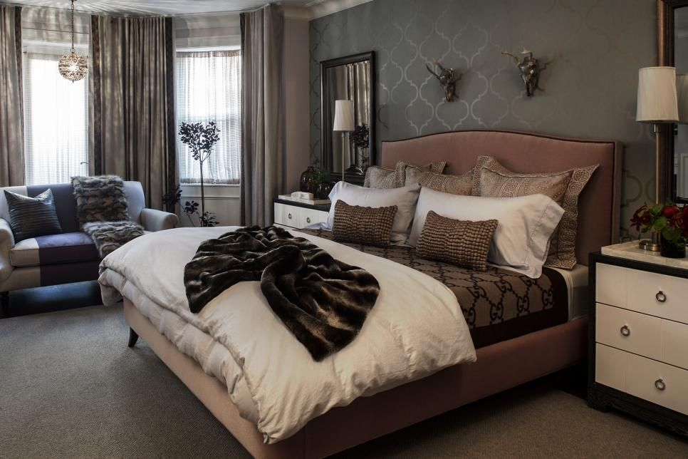 This relaxing, classic master bedroom mixes feminine and masculine ...