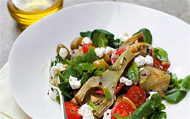 Artichoke, ricotta and almond salad with honey and preserved-lemon dressing recipe