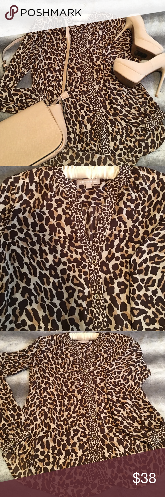 Banana Republic leopard print blouse Beautiful new Banana Republic leopard print blouse. Looks cute for the office or after. Banana Republic Tops Blouses