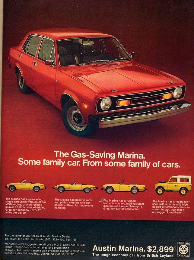 Austin Marina Morris Marina, Austin Cars, Retro Cars, Vintage Cars, Car Advertising