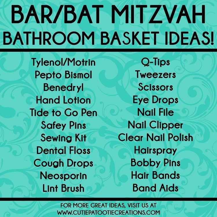 Bathroom Basket Ideas For Bar And Bat Mitzvahs Essentials Emergency