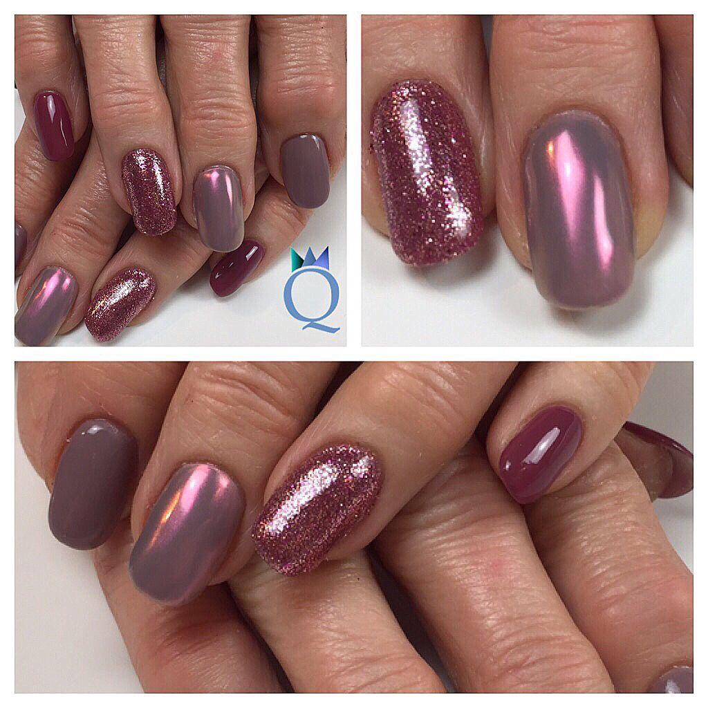 gelnails nails plum grey pinkchrome glitter. Black Bedroom Furniture Sets. Home Design Ideas
