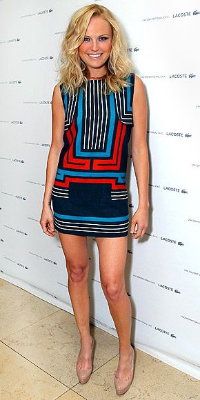 Graphic, block-print mini with a high boatneck balances out the skirt, while pattern keeps the whole look ladylike.