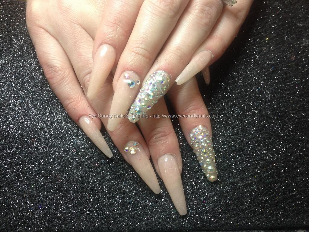 Eye Candy Nails Training Acrylic Nails With Coloured Acrylic And Swarovski Crystals By Nicola Senior On 25 February Acrylic Nails Nails Gel Nail Extensions