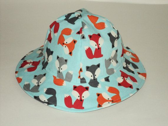 Fox Baby Sun Hat - Baby Boy Sun Hat - Floppy Hat - Beach Hat - Toddler Sun Hat - Made To Order Size Newborn to 7 Years