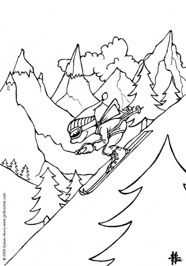 skiing coloring pages Boy skiing coloring page. tMore sports coloring pages on hellokids  skiing coloring pages