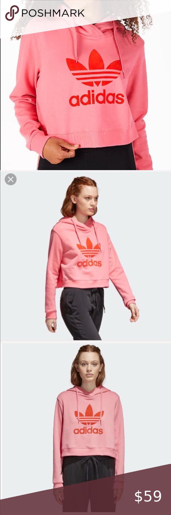 Nwt Adidas Originals Crop Pink Hoodie In 2021 Black Sweatshirt Hoodie Oversized Hoodie Sweatshirts Adidas Floral [ 1740 x 580 Pixel ]