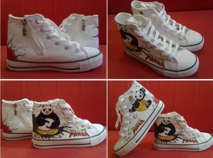 67254b1d31db Kung fu panda high top sneakers for kids Painted Canvas Shoes