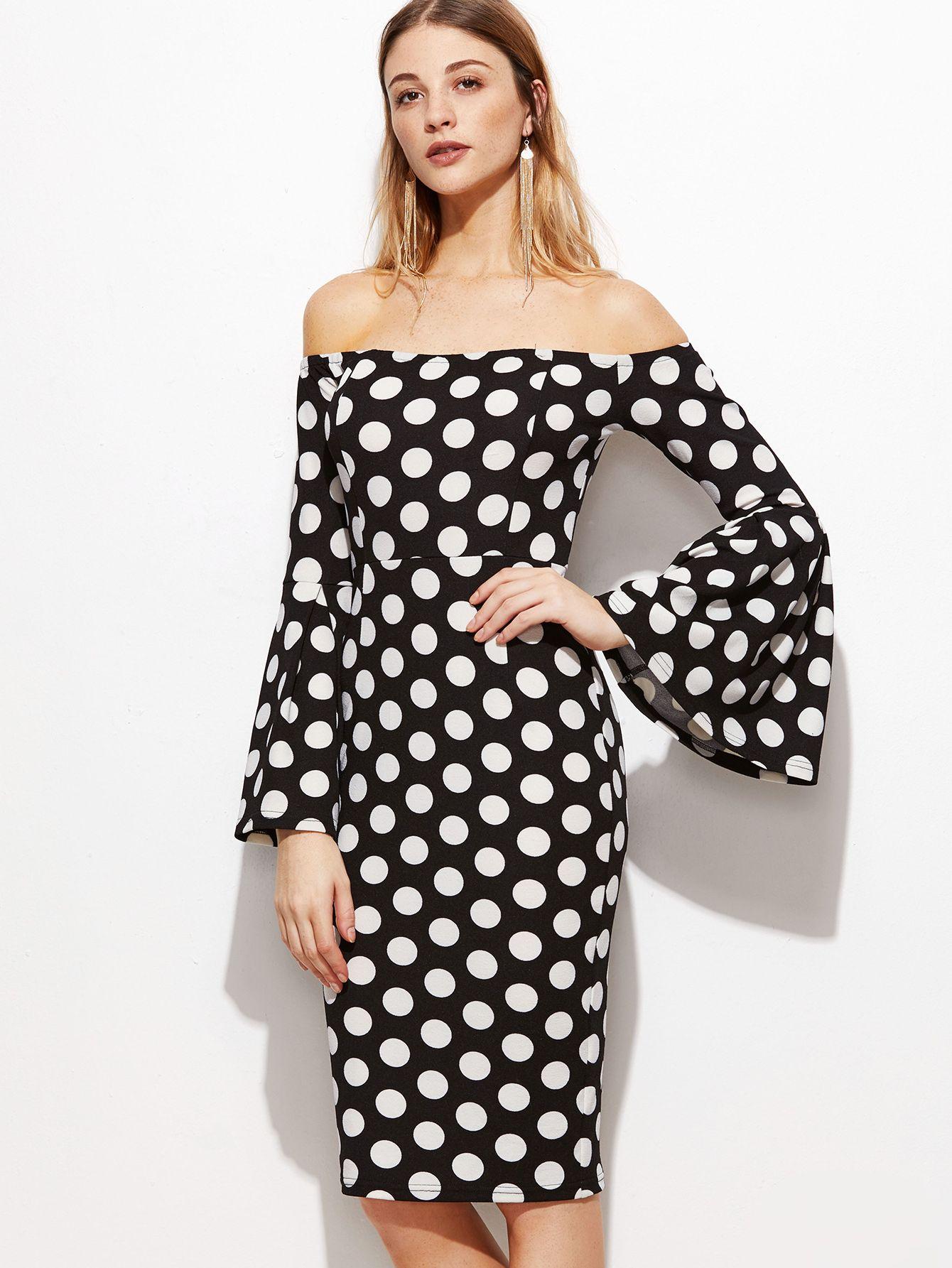 dc018075960dd6 Black+Polka+Dot+Print+Off+The+Shoulder+Bell+Sleeve+Dress+18.00