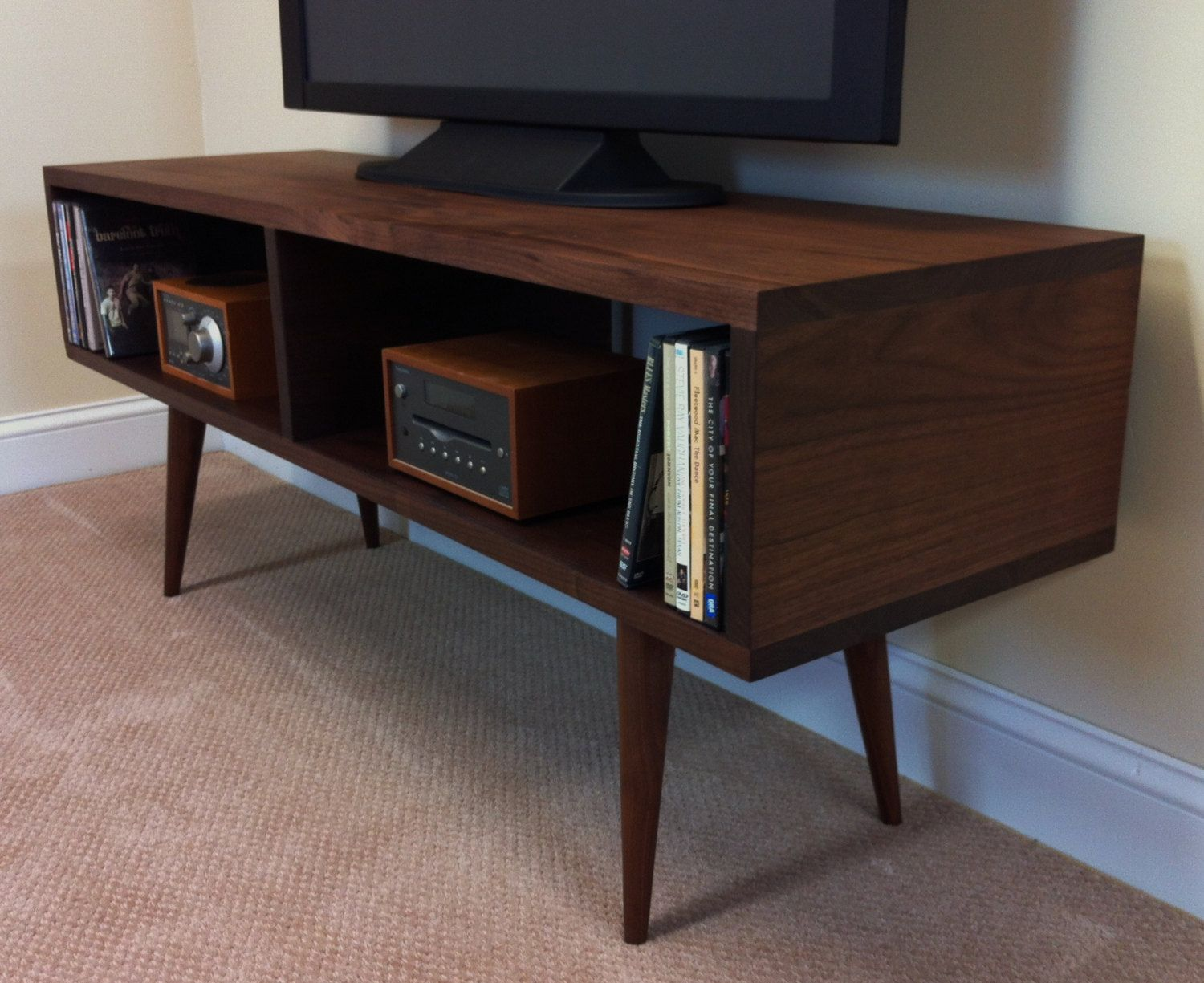 Mid century modern TV table/entertainment console, black walnut with  tapered wood legs.