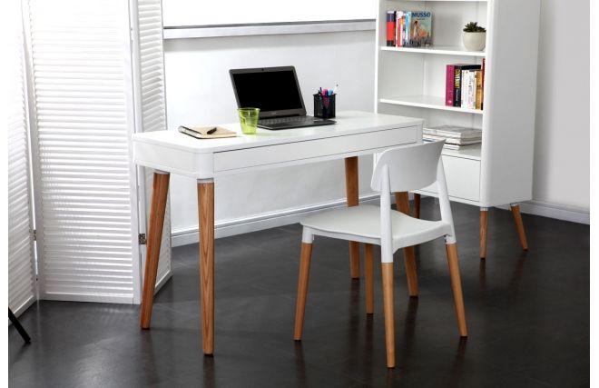 Bureau scandinave blanc et bois totem miliboo u ac bureaux