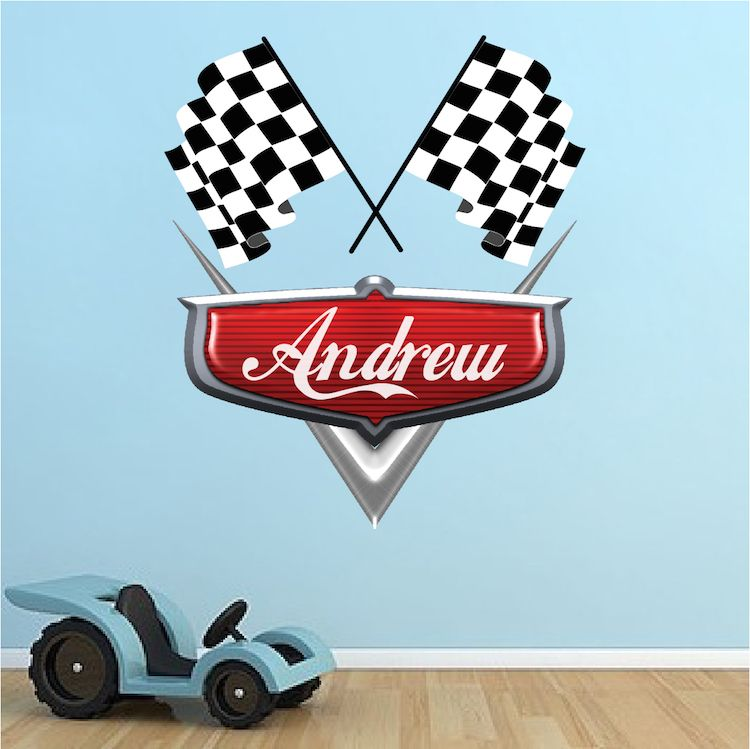 personalized boys race car name decal - car wall decals - automotive
