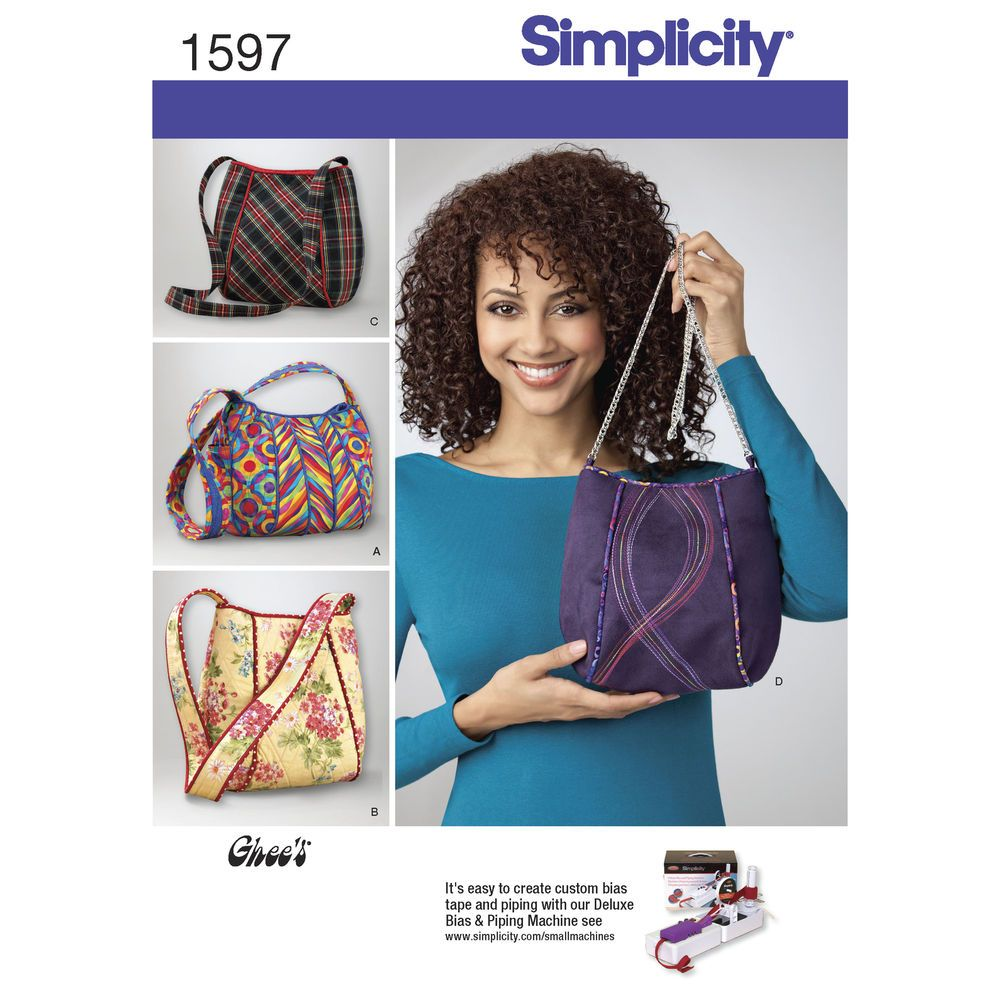 Bag in 4 styles with contrast lining, trim and piping. Each bag with a unique strap detail. Use trim to make a long strap on a smaller purse or piping to display fabric contrast. Simplicity sewing   pattern.