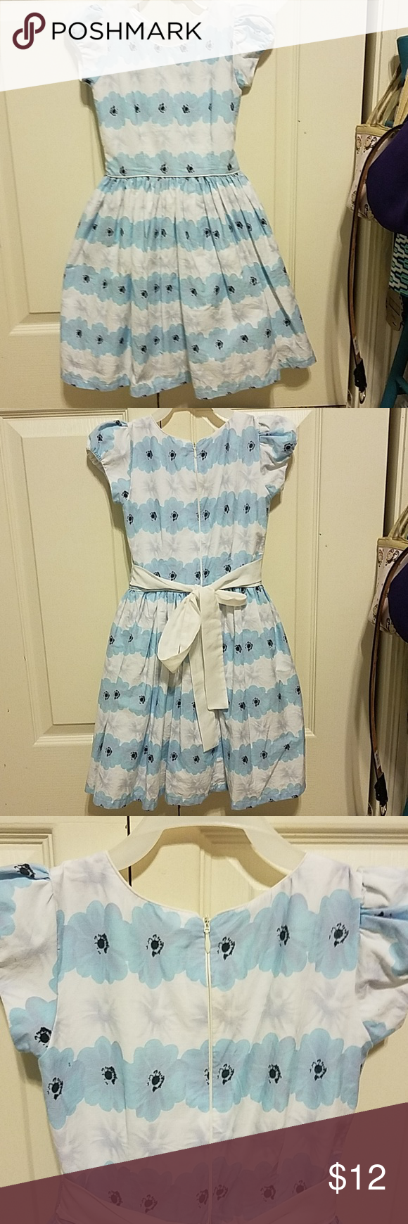 4t Light Blue And White Dress 4t White Light Blue And Lavender Colored Flowers Dress Bow Ties In The Back Blue And White Dress Little Miss Dress White Dress [ 1740 x 580 Pixel ]
