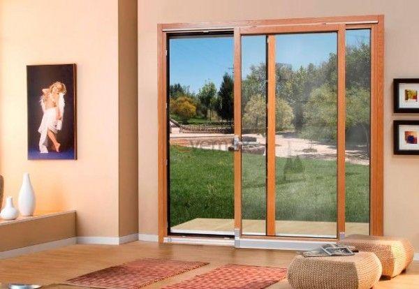 Puertas correderas osciloparalelas en madera aluminio - Puertas para terrazas ...