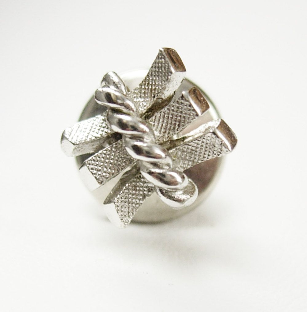 Art Deco White Gold 10Kt Tie Tac Lapel Pin Vintage Brushed Silver ...