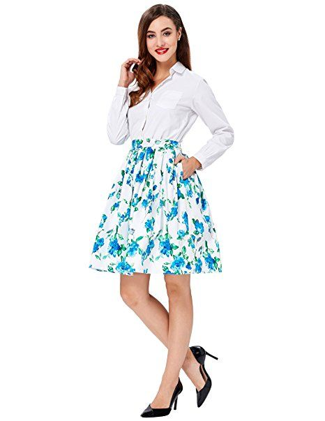 c56f5b2b83 Blue floral prints, high waisted vintage skirts for women 2016/2017 ...