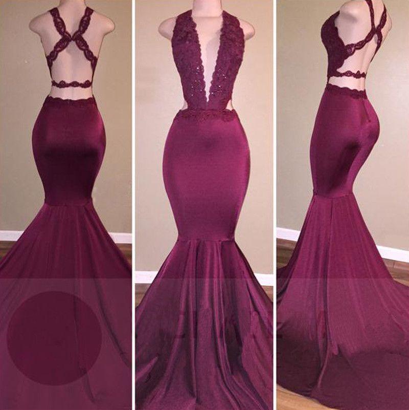 low cut neckline mermaid prom dress with strappy prom