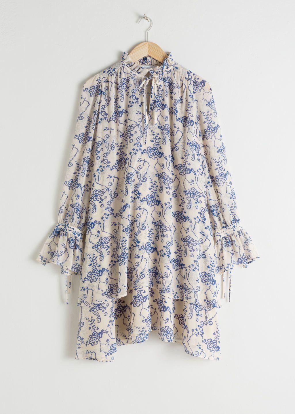 Ruffle Collar Cloud Print Mini Dress 3