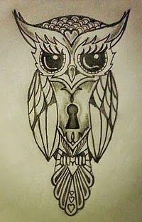 Tatuagem De Coruja Com Fechadura Tatuagem De Coruja Coruja