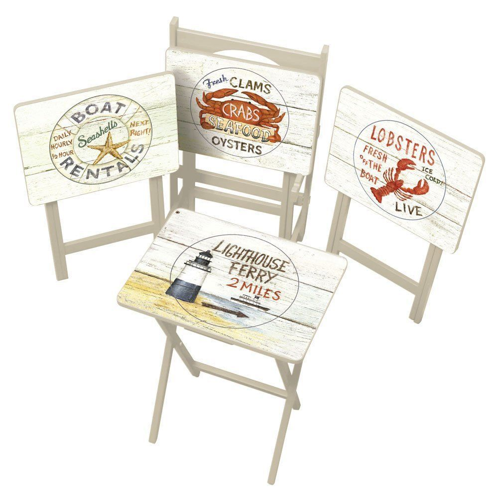 Nautical Tv Tray Set Server Table Decor Coastal Living Room Tables Unbranded