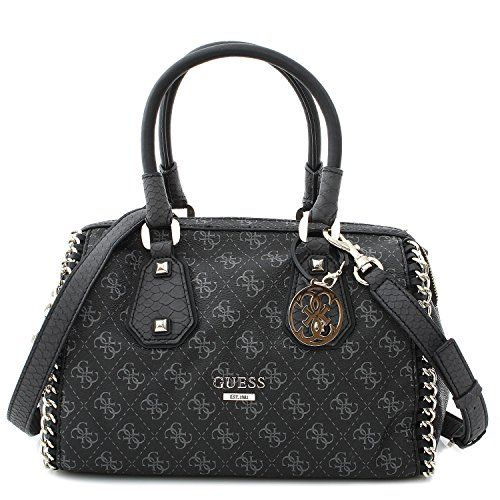 GUESS Confidential Chain Frame Satchel (Black   Gray)     Check out ... 7c05498ceb852