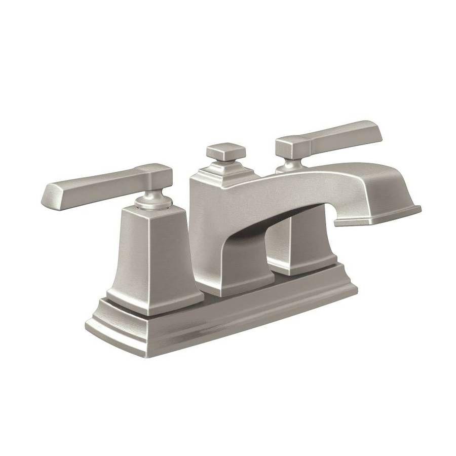 Moen Boardwalk Spot Resist Brushed Nickel 2 Handle 4 In Centerset Watersense Bathroom Faucet