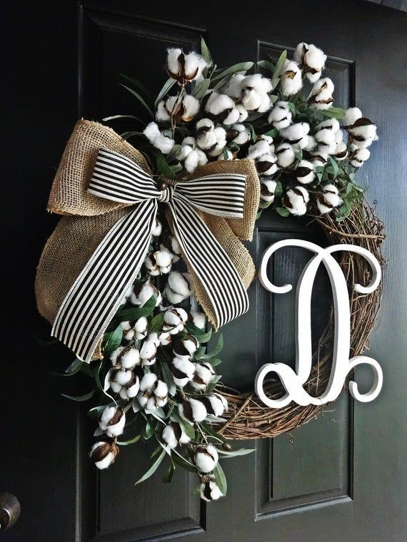 Photo of This lovely, 24 large cotton and olive branch wreath, accented with burlap and b…