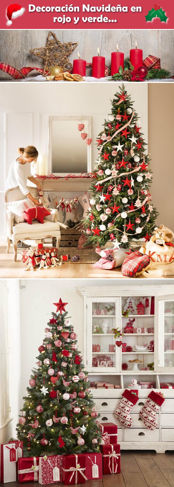 Ideas para decorar la navidad en color rojo y verde for Ideas de decoracion navidena
