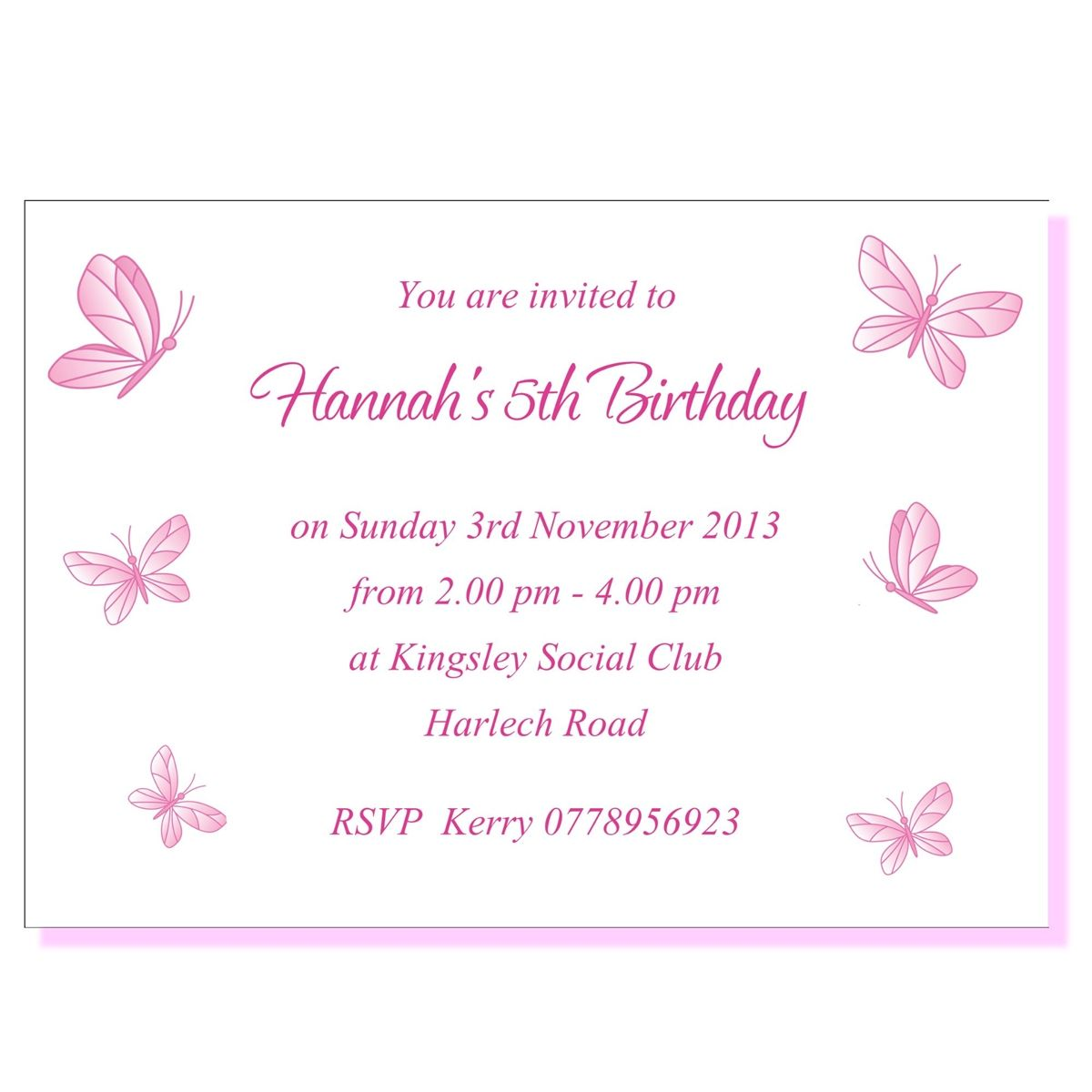 Personalised Invite Childrens Birthday Party Invitations Butterfly ...