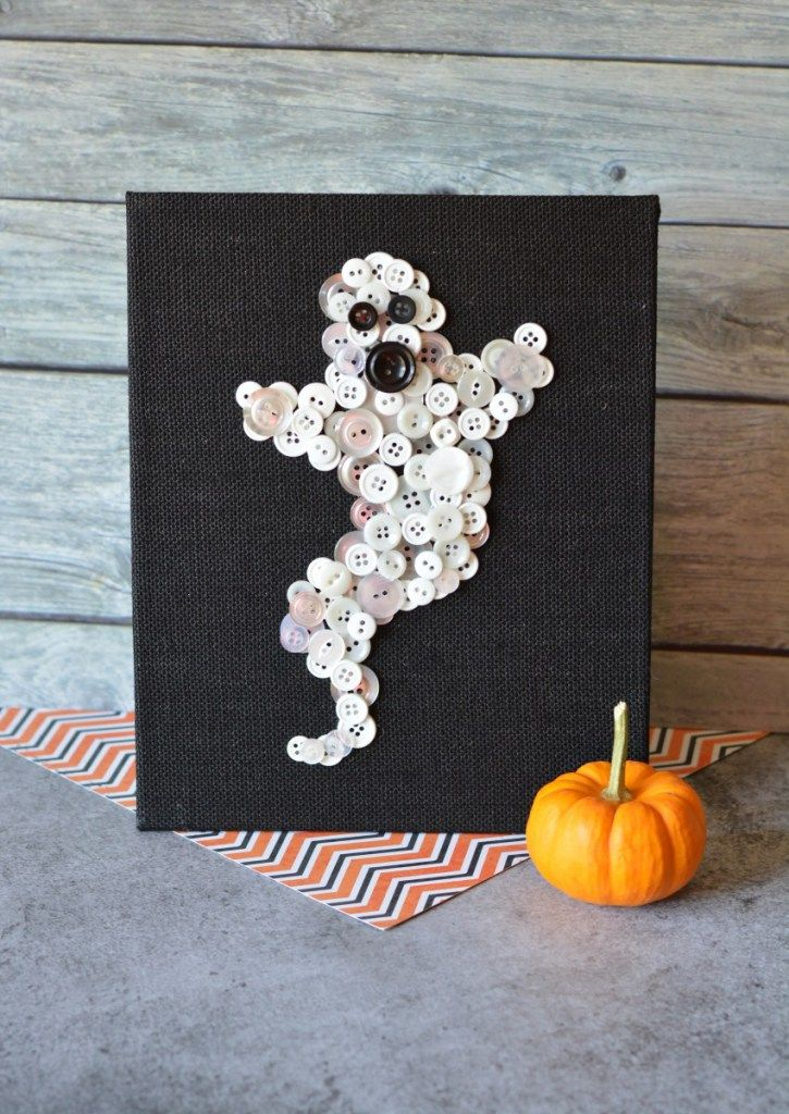 DIY Halloween Craft Ghost Button Decor Button crafts, Reuse and Craft - halloween arts and crafts decorations