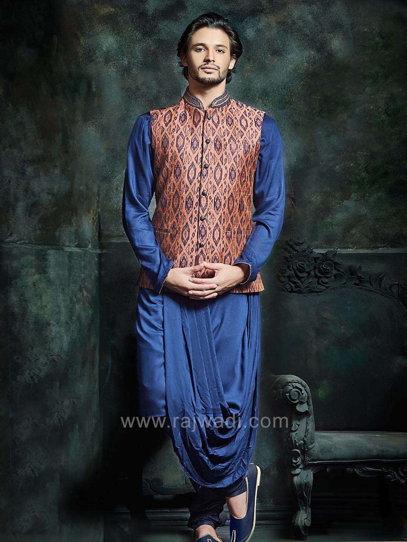 Long sleeve navy color kurta set with stylish koti rajwadi