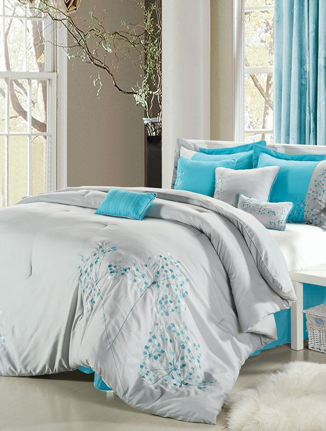 Gray  Turquoise Floral Embroidered Comforter Set