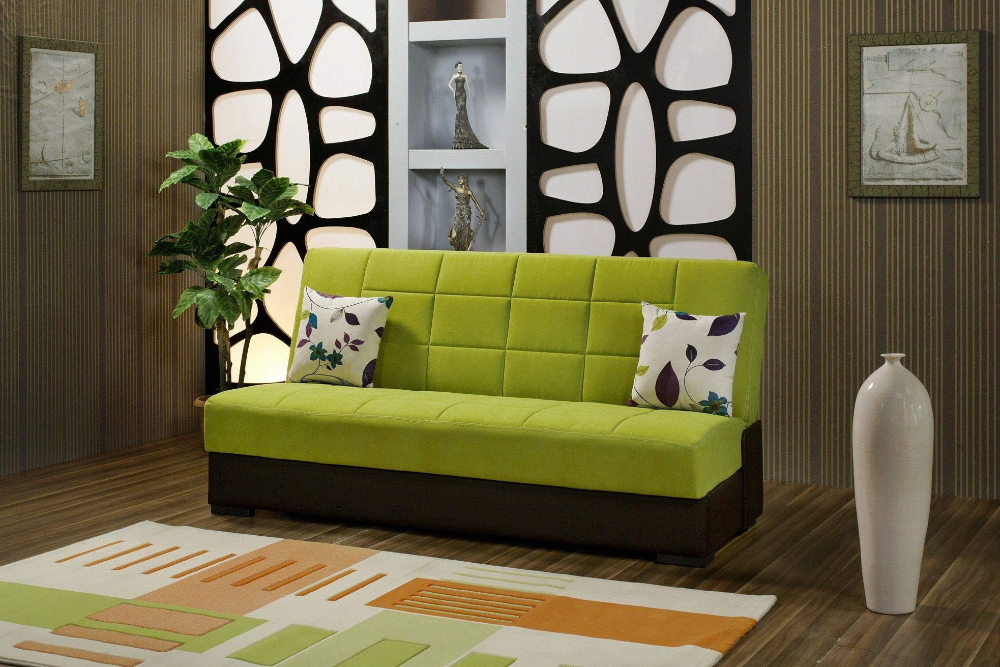 Furniture Cool Green Foam Single Sofa Bed Chocolate Wooden Flooring