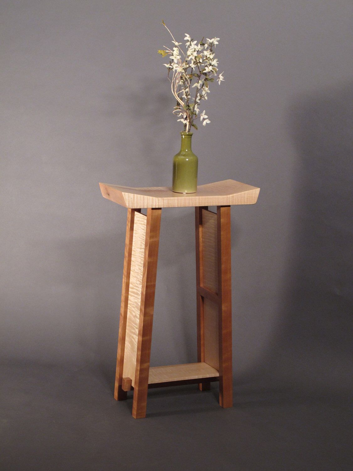 Small Side Table: Tiger Maple U0026 Cherry Narrow End Table, Accent Table, Entry