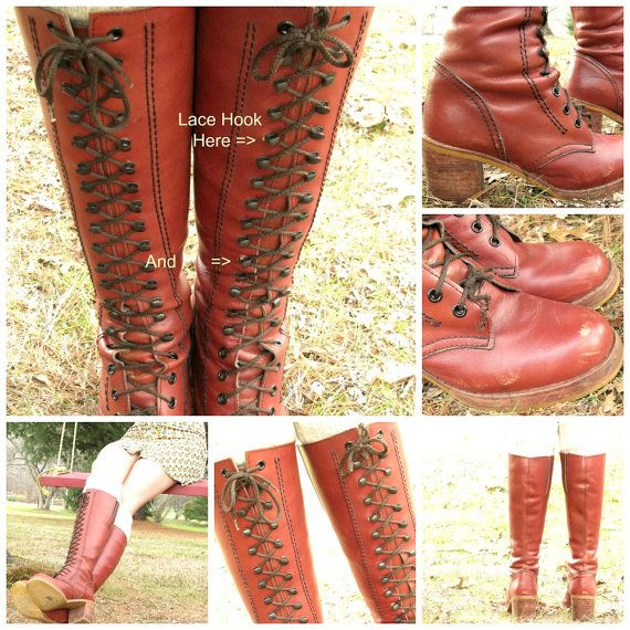 10c966474dd SALE! Was $125 abd FREE SHIPPING! Gorgeous pair of vintage leather boots.  Tall with laces up the front. Boho, hippie style and detailed