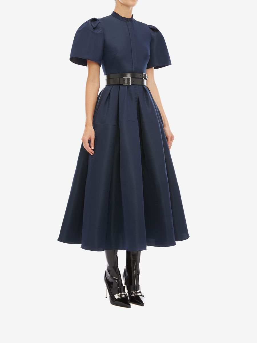 Women S Navy Shell Sleeve Midi Dress Alexander Mcqueen In 2020 Fashion Midi Dress With Sleeves Luxury Outfits