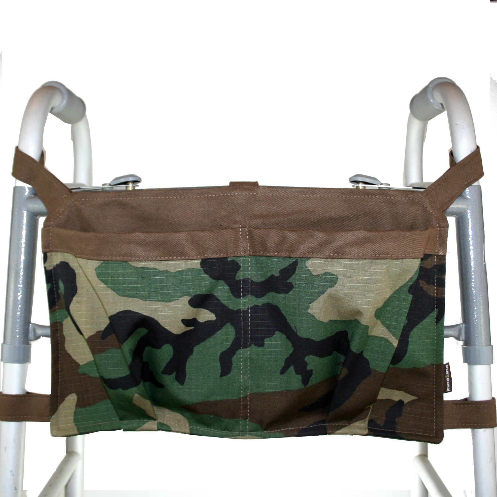 Large Walker Bag, Camouflage with Brown Trim