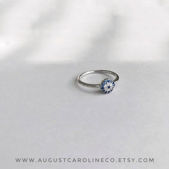 Photo of Dainty Evil Eye Ring / Simple Ring // Silver Ring // Pretty Ring // Cubic Zirconia Ring // Stackable Ring // Gift for Her Pretty // Jewelry