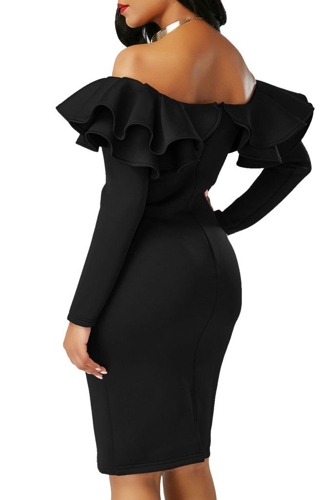 589e3d3945c White Ruffle Off The Shoulder Long Sleeve Bodycon Dress in 2019 ...