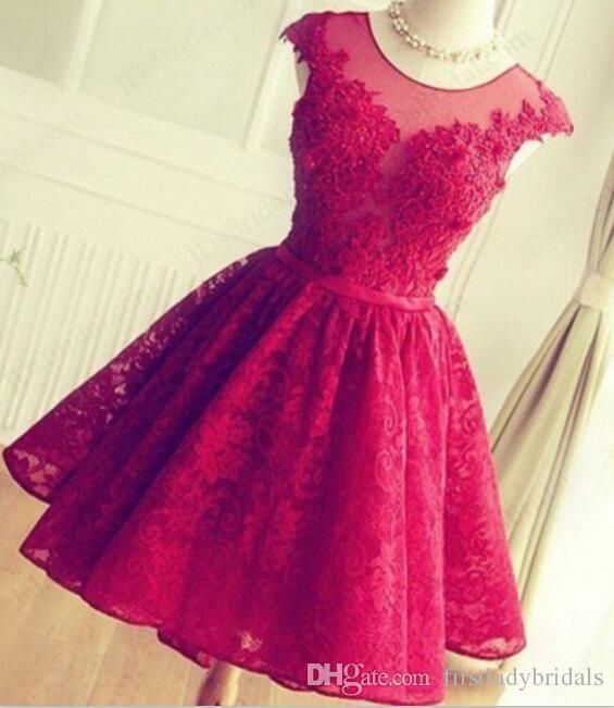 2016 Red Lace Prom Dresses Short Mini Skirt Sheer Neck Tulle ...