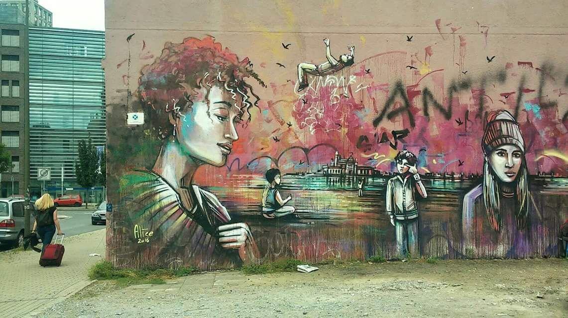 """People May Come, People May Go"" Alice Pasquini @alicepasquini #streetart Dortmund, Germany"