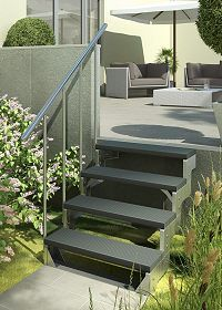 au entreppe stahl treppe aussen mit 4 stufen treppe zum garten pinterest haus and porch. Black Bedroom Furniture Sets. Home Design Ideas